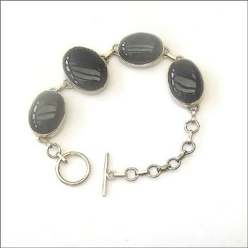 Indian Bracelet with Oval Black Obsidian
